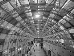 SkyWalk Toronto 2 (RobertLx) Tags: canada ontario america toronto skywalk unionpearsonexpress railwaystation monochrome bw city interior modern glass grid curve lines circle architecture