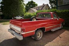 GMC (HTT) (13skies (Physio)) Tags: happytruckthursday red pickuptruck bayfieldon sitting htt pickup truck cool older old classic sonya57 daytripping sights transport wheels vintage antique