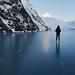Skating on Portage Lake. Chugach National Forest, Alaska