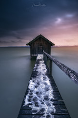 Idyllic Boathouse (Manuel.Martin_72) Tags: ammersee germany darkness darkmood enchanting magic mysterious boathouse wbpa snow cabin lake longexposure sunset sky light d