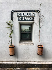 Delight deluxe (Melissa Maples) Tags: antalya turkey türkiye asia 土耳其 apple iphone iphonex cameraphone winter photographer reflection window me melissa maples selfportrait woman blonde delightdeluxe text sign flowerpots wall white