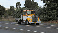 Yellow Power (2/3) (Jungle Jack Movements (ferroequinologist)) Tags: kenworth yellow ford f350 mack ecodyne baby sar k124 ken kenny kw k100 highway hauling haulin hume sydney 2019 yass classic historic vintage veteran hcvca vehicle run hp horsepower big rig haul haulage freight cabover trucker drive transport delivery bulk lorry hgv wagon nose semi trailer deliver cargo interstate articulated load freighter ship move roll motor engine power teamster tractor prime mover diesel injected driver cab wheel