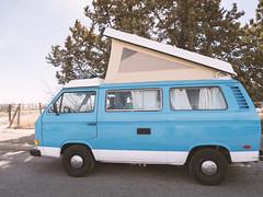 Pop-Top Volkswagen Van (joncutrer) Tags: blue van volkswagen poptop popup camper rv retro vehicle transportation travel vintage dog