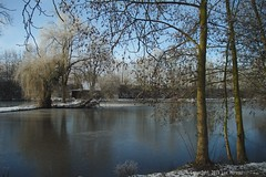 Sunny Snowy Village (Spotmatix) Tags: 1935mm a7 belgium brabantwallon camera countryside landscape lens places pond seasons snow sony sunny villerslaville water winter zoomwide