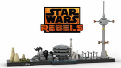 Lego Star Wars - Lothal Skyline MOC (dayman1776) Tags: star wars lego legos skyline architecture brick bricks studio render 3d lothal rebels city kanan ezra hera sabine wren zeb moc cool dave filoni building empire tower imperial thrawn highway mini micro microscale miniscale skylines