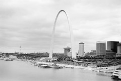 St. Louis Riverfront ca. 1985 from Eads Bridge (Edward B Spence) Tags: voigtländer heliar apx25 atomal bessaii stlouis eadsbridge riverfrontarch