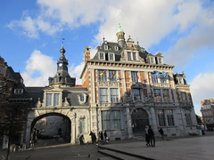 Bourse and archway to Belfry, late afternoon, Place d'Armes, Namur, Belgium (Paul McClure DC) Tags: belgium belgique wallonie wallonia feb2018 namur namen ardennes historic architecture