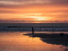 Fisherman and a Glorious Sunset at Newgale. (hemlockwood1) Tags: ewgale sunset sea fisherman rods fishing wales pembrokeshire sandred skyglorious stunning sun