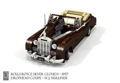 Rolls-Royce Silver Cloud I Drophead Coupe - 1957 (H. J. Mulliner) (lego911) Tags: rolls royce rollsroyce silver cloud i seriesi 1957 1950s classic coachbuilt hjmuliner mulliner drohead coupe convertible softtop luxury british britain gb english auto car moc model miniland lego lego911 ldd render cad povray afol