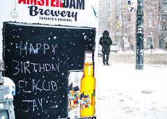 Flaccid (Paul B0udreau) Tags: canada ontario paulboudreauphotography niagara d5100 nikon nikond5100 snowstorm toronto city street winter photoshop layer sign happybirthday amsterdambrewery person beer nikkor1855mm