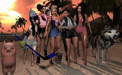 Friends💕  , Beach☀️ , Fun😊 (_A_S_L_A_N_) Tags: friends me sun sunset sunrise beach sand bikini swimsuit water palms girls hot hotgirls huskie husky dog lama latina latinagirls anime animegirl cute kawaii picture group grouppicture firestorm sl secondlife maitreya signature catwa