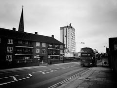 Half Acre, Brentford (dominicirons) Tags: brentford westlondon redevelopment halfacre highstreet policestation e2bus londonbus blackwhite blackandwhite