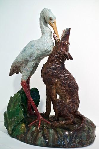 """Wolf and stork"" sculpture (1900) - Rafael Bordalo Pinheiro (1846 - 1905)"
