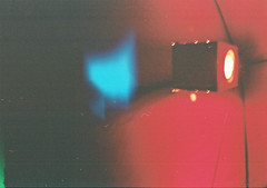 FH000019 (Simon Hubbert) Tags: mini diana lomography europe germany medium format square light abstract dark night outside nature red bulb travel 2017 2018 tourist urban architecture glow darkness lantern
