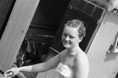Sheila Shelagh Rose Jefferies Beach Hut Brightlingsea c1950's (Photos by Alf Jefferies) Tags: sheila shelagh roase jefferies alf photos by salt marshes old crab winkle line dog sea sand sky woman defences bikini wife