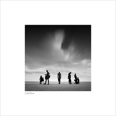 beach silhoettes (Charlie Pragnell) Tags: colwynbay northwalescoast olympusuk longexposure fineartphotography blackwhitefineart wwwcharlespragnellphotographynet squareformat