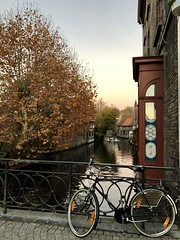 In Bruges (s_evil) Tags: landscape colors autumn boat river riverboat bridge belgium bruges bike