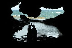 Selfie in the sea caves (alancookson) Tags: fujixt2280918 selfie seacave cave animalflowercave barbados silhouette
