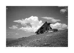 (Oeil de chat) Tags: nb bw monochrome film pellicule argentique 35mm kodak trix voigtlander bessa r2a colorskopar slovénie paysage montagne abandonné nuages grain rodinal