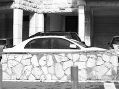 Car behind Stone Fence (zeevveez) Tags: זאבברקן zeevveez zeevbarkan canon bw