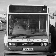 Optare Solo (black and white version), First Greater Manchester, Ashton-under-Lyne (Mancunian1001) Tags: ashtonunderlyne tameside lancashire transportforgreatermanchester tfgm firstgroup firstgreatermanchester optaresolo 348 carrbrook stalybridge copley millbrook cockbrook