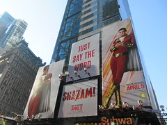 Shazam The Big Red Cheese Billboard 42nd St NYC 4344 (Brechtbug) Tags: shazam billboard 42nd street new captain marvel the big red cheese poster ad nyc 2019 times square movie billboards york city work working worker paint painting advertisement dc comic comics hero superhero alien dark knight bat adventure national periodicals publication book character near broadway shield s insignia blue forty second st fortysecond 03202019 lightning flight flying march