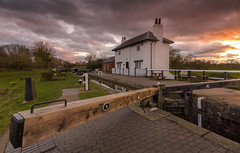 Lock House, Foxton Locks (John__Hull) Tags: foxton locks lock house white canal grand union leicestershire england uk landscape winter trees nikon d7200 sigma 1020mm clouds sunset