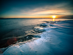 Sunset on the rocks - Helsinki, FInland - Seascape Photography (Giuseppe Milo (www.pixael.com)) Tags: photo landscape sunset nature reflection city helsinki snow sun finland sky sea travel pink photography island uunisaari seascape clouds europe geotagged snowing uusimaa fi onsale