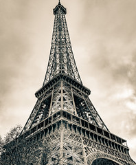 Collection from Views: Tour Eiffel (mathavhane) Tags: tower building architecture spire steeple split tone sky majestic beautiful happy france mystic paris eiffel trees structure fine black white