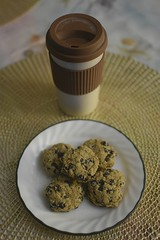 Coffee & Chocolate Chip Cookies (✿✿HAPPY EARTH DAY✿✿) Tags: odc takethebiscuit cookies coffee cup chocolatechipcookies bowl table placemat gold food edible