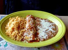 photo - Beef Enchilada, Maria Elena's, Alviso, California (Jassy-50) Tags: photo alviso california mariaelena mariaelenas restaurant mexican beefenchilada beef enchilada rice refriedbeans food meal