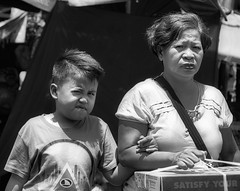 Suspicious (Beegee49) Tags: street people mother son boy blackandwhite monachrome bw sony bacolod city philippines asia happyplanet asiafavorites