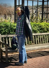 Blue Jeans & Glasses (LarryJay99 ) Tags: asian bluejeans dinunm dude dudes facialhair glasses guy guys handsome happybenchmonday jeans m male man manly men nature people shadows studly urbanbackpackers virile nationalarboretum washington dc