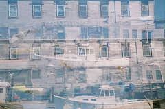 Double Dock (GlobalGoebel) Tags: smena 8m smena8m lomo lomography oldport portland maine me doubleexposure filmisnotdead ishootfilm film expired expiredfilm boat kodak gold 200 asa200 iso200