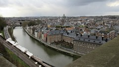 Sambre River, city view from the Citadelle, Namur, Belgium (Paul McClure DC) Tags: namur namen belgium belgique wallonia wallonie feb2018 historic architecture scenery castle citadel river sambre ardennes cathedral