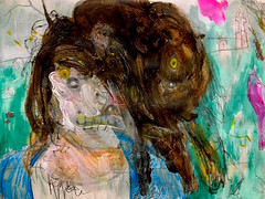 Lima Center Road (giveawayboy) Tags: pencil eraser water crayon acrylic paint drawing sketch painting art fch tampa artist giveawayboy billrogers lima center road cemetery creature wmotf wildman wild mysterious unknown sighting spooky eerie creepy unexplained abstract expressionism figurative person eyewitness horror weird cryptic strange uncanny roadside pedestrian human monster story account happening rural graves tombs gravestones countryroad muzzle snout grimace wolf
