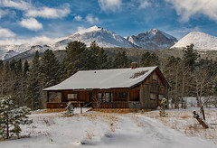Cabin With a View (RkyMtnGrl) Tags: cabin snow winter january landscape nature scenery mountains snowcapped longspeak clouds colorado7 colorado rockymountains