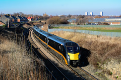 2019-02-15 @ Grangetown, Sunderland: 1A65 1228 Sunderland-London King's Cross: Class 180 no. 180103 [DSC_3623] (graeme9022) Tags: british rail railways travel adelante high speed train diesel hydraulic multiple unit dmu orange black livery north east england uk northern eastern open access operator express durham coast route