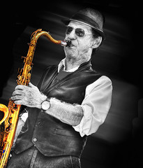 (daystar297) Tags: portrait music musician sax saxophone horn performer performance bnw manipulation photoshop nikon jazz blues fedora sunglasses