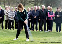 Lady Captain Therese drives in.