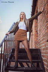 Fire escape (Neil Adams Photography (Wirral)) Tags: young model outdoor outside girl woman female beautiful sensual elegant