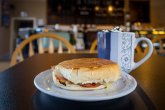 Lunchtime at The Kinder Cup (kevin.boyd) Tags: view royal admirals walk coffee shop kinder cup ham swiss sandwich hot chocolate bokeh depth field lunch food plate chairs victoria bc canada yum