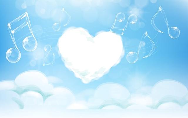 Обои сердце, мелодия, ноты, светлый картинки на рабочий стол, фото скачать бесплатно