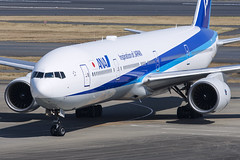 All Nippon Airways, Boeing 777-381, JA753A. (M. Leith Photography) Tags: tokyo haneda airport japan boeing jet airliner mark leith photography nikon d7200 70200vrii 200500mm nikkor flying hnd taxiing runway aviation sunny air ana all nippon airways 777