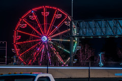 resting carnival (pbo31) Tags: bayarea california nikon d810 color night dark april 2019 boury pbo31 lightstream motion traffic roadway spinning fair carnival butler amusements laney college 880 traveling rides oakland eastbay alamedacounty black red