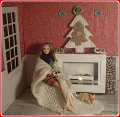 23.advent day - advent calendar with dolls (Mary (Mária)) Tags: barbie doll diorama advent calendar blanket christmas christmastree nataliavodianova supernova fireplace pig pet mattel wood fire cozy chocolate handmade marykorcek