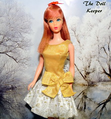 Happy New Year 2019 to all my Flickr Friends (The doll keeper) Tags: 1967 vintage mod tnt titian barbie doll gold bow dress