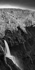Mýrdalsjökull Glacier (azhukau) Tags: iceland travel mountain glacier mýrdalsjökull monochrome blackandwhite cold deepnorth outdoors hiking waterfall majestic ice longexposure cliff eroded steep geology panoramic