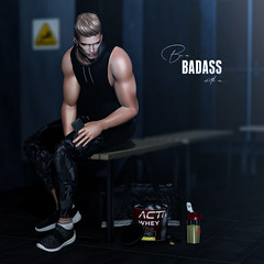 Be a badass with a good ass (Satuex Resident) Tags: virtusl secondlife guy gay men man dude male boy twink teen gym thirst gacha blonde hair mesh pose bento ks dubai event epiphany snekaers tank tanktop