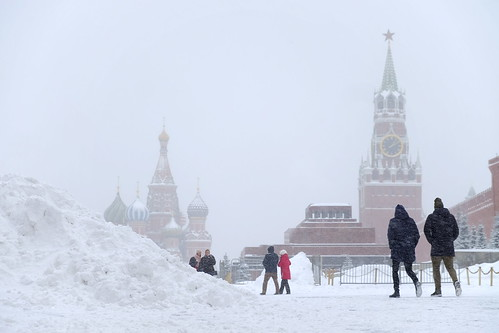 Snow storm on Red Square. Moscow, Russia